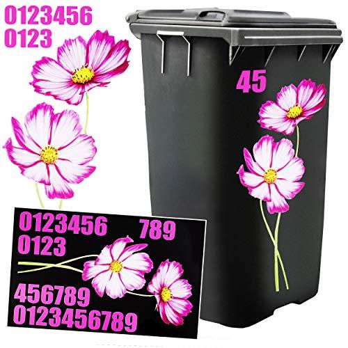*Unbekannt Aufkleber für Mülltonne –  Blume & Blüte – lila  – 31 TLG. Set – incl. Zahlen / Hausnummer – Nummern Mülltonnenaufkleber / Mülltonnensticker – Sticker – Wet..*