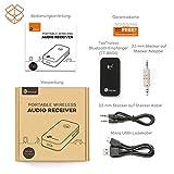 TaoTronics Bluetooth Empfänger Adapter Tragbare Bluetooth 4.0 Receiver Wireless Adapter Audiogeräte für Heim Auto Lautsprechersystem und Handy mit Stereo 3.5 mm Aux - 7
