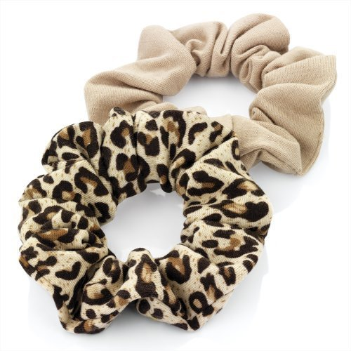 La-la-print Jersey (Pair of Brown Plain and Brown Animal Print Jersey Hair Scrunchies Bobbles Elastic Hair Bands by Pritties Accessories)