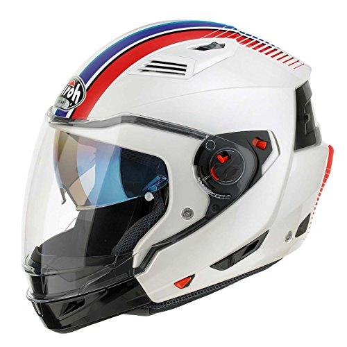 Airoh Casco para motociclista, color Blanco Rayas, talla 56-S