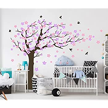 Bdecoll Cherry Blssom Arbre sticker muraux/Chambre filles, chambre de bébé,  Creative Art Deco (Purple)
