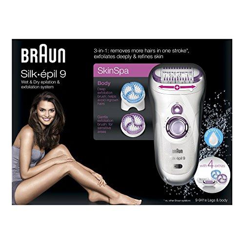 Braun Silk-épil 9 Wet & Dry SkinSpa 9-941e Sistema di epilazione ed esfoliazione, 3-in-1 con 4 accessori