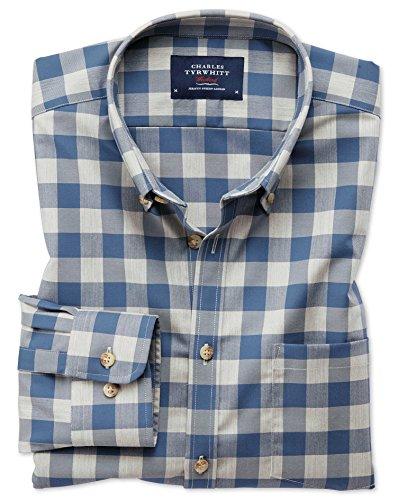 Bügelfreies Classic Fit Twill-Hemd in Blau und Grau mit Karos Einzel Manschette Größe L (Kragen-einzel Manschette-shirt)