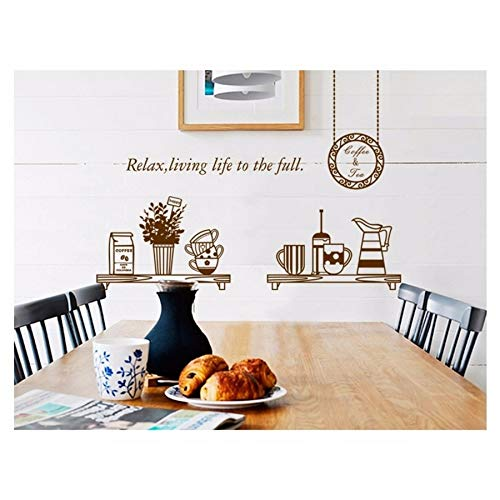 Kuamai Braun Kaffee Milch Wandaufkleber Decals Removal Tassen Geschirr Vinyl Tapete Küche Esszimmer Cafe Restaurant Dekoration