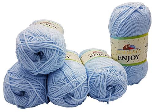 Enjoy 5 x 100 Gramm Himalaya Strickwolle, 50% Bambus, 500 Gramm Wolle (hellblau 234-47) - Himalaya-garn