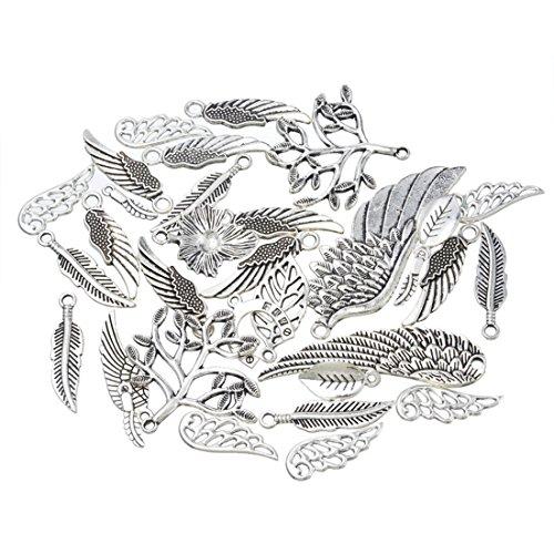 Souarts 1 Set Antik Silber Farbe Flügel Schmuckzubehör Basteln Charms Anhänger Für Halskette Armband 20St (20 Anhänger Halskette)