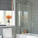 iBathUK 1000mm Luxury Pivot Bath Shower Easy Clean Glass Screen Reversible Door Panel