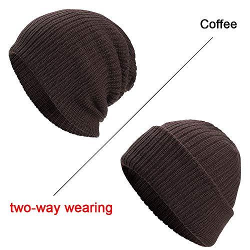UJUNAOR Unisex Wollmütze Baseball Hüte Baggy Stricken Ski Beanie Doppelseitig Funktional Slouchy Caps Frühling 2018(Kaffee)