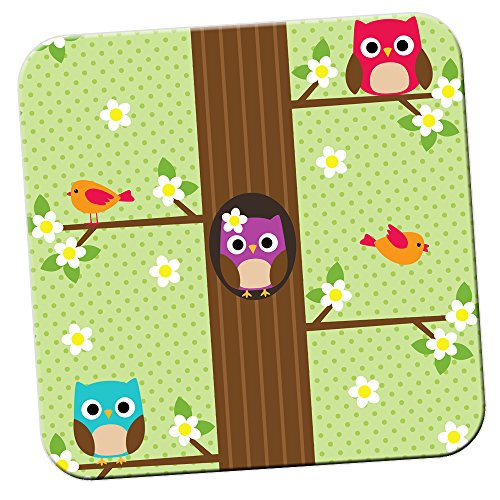 spring-owls-with-flowers-birds-coaster-pack-of-coasters