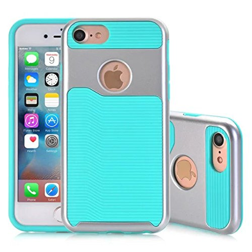 iPhone 7 hülle, Lantier 2 in 1 [weicher harter Tough Case][Anti Skid][Thin Slim Fit][Stoßdämpfung] Wellenmuster Rüstung Schutzhülle für Apple iPhone 7 (4,7 Zoll) golden Rose Silver + Mint Green