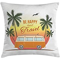 Sea Throw Pillow Cushion Cover, Retro Surf Van with Palms Camping Relax Hippie Travel Be