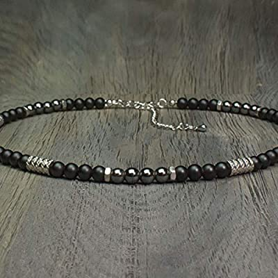 Taille 50cm Collier Homme perles Ø 6mm pierre gemme Agate Noir Hématite - anneaux hexagone Acier inoxydable Fait main Made in France COLLINIX18