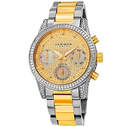 Akribos XXIV Diamond Gold Dial AK1038TTG - Reloj para hombre