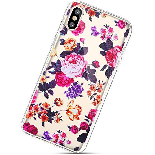 Herbests Kompatibel mit iPhone XS Max Hülle Silikon Handyhülle Durchsichtige TPU Case Clear TPU Schutz Handytasche Crystal Clear Schutzhülle Weiche Silikon Bumper Case,Rose Blumen
