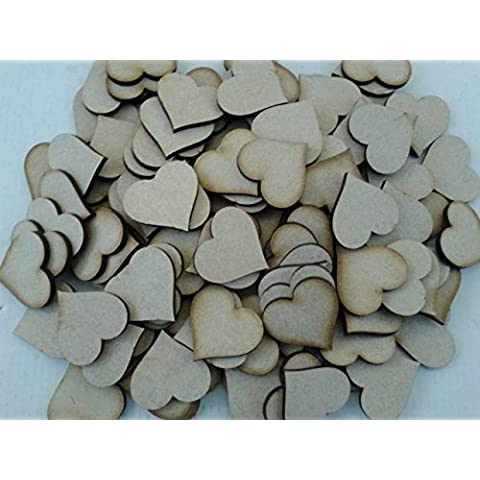 Corte Láser 3Mm Corazones de madera MDF 3cm x 3cm, 100unidades)