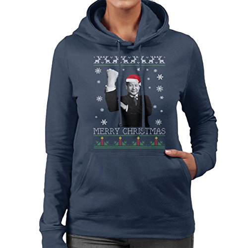 Xi Jinping Chinese President Merry Christmas Knit Women's Hooded Sweatshirt Navy blue