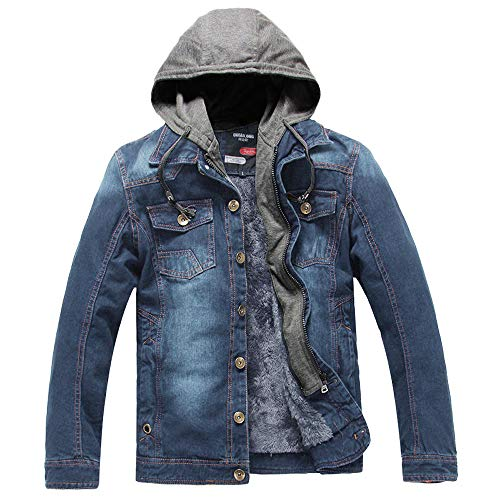 Azruma Herren Herbst und Winter Plus Samt Denim Jacke Blau Jeansjacke Herren Winter Denim Jacket Gefütterte Jeans Jacke Mit Kapuze Mantel Warme Winterjacke
