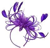 Purple Feather Hair Fascinator Headband Wedding and Royal Ascot Races Ladies