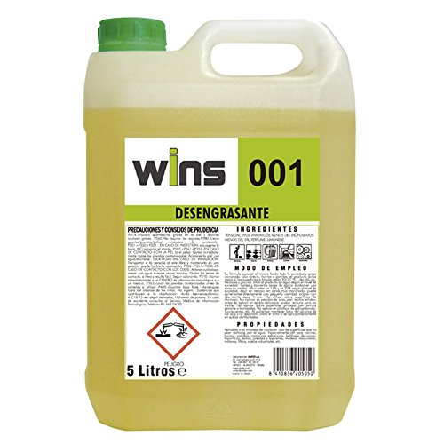 WINS 001 Desengrasante concentrado profesional 001 para multitud de superficies. Botella 5 Lt