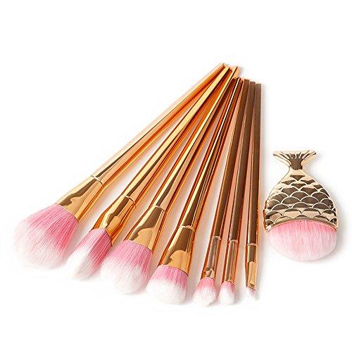 7 PCS Multicolore Professionnel Maquillage Brosses Fard à Paupières Pinceau Fond de Teint Avec Ovale Mermaid Cosmétiques Brosse de Maquillage (Or Rose -1)