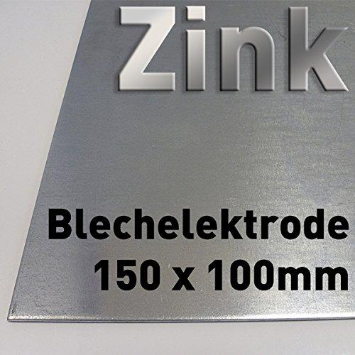 Zink-Blech 100 x 150 mm, Reinzink, als Anode / Elektrode (10 x 15 cm) für Zinkelektrolyt / Galvanik, Verzinken