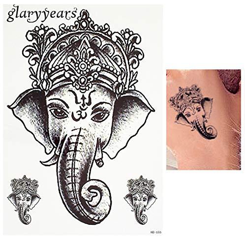 HXMAN 2 Stück Schwarze Farbe Tattoo Aufkleber Thailand Ganesh Elefant Gott Muster Frauen Körper Kunst Temporäre Tattoo Aufkleber Wasserdicht(2 Pack) AAA-001