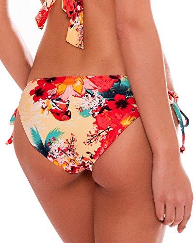 RELLECIGA Damen Bademode Bikini Unterteil mit Schnürchen Bottom Blumen Gelb