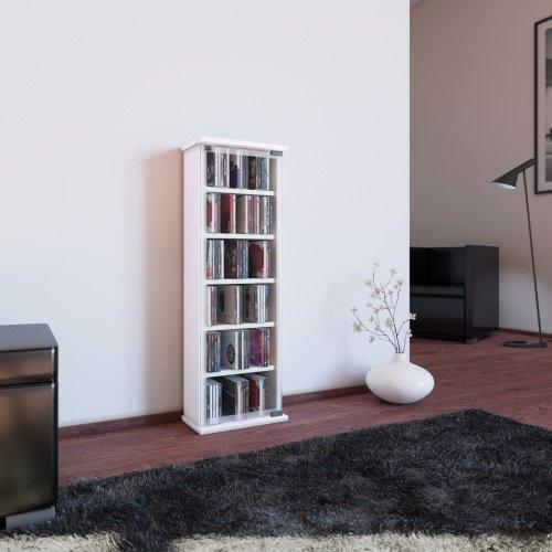 Cd-schränke (VCM 21027Classic CD/DVD-Turm für 150CDs Holz/Glas Weiß 88x 31x 18cm)