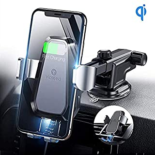 VICSEED Wireless Car Charger Mount, Auto Clamping Qi Fast Charging Car Phone Holder Air Vent Dashboard Compatible with iPhone Xs Max XR X 8 Plus, Compatible with Samsung Galaxy S10+ S10 S9 Note9