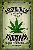 Amsterdam freedom cannabis marijuana schild auch blech, metal sign, deko schild,