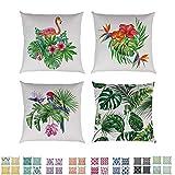 Comoco 4er Set Bettwäsche aus Baumwolle Dekorativ Werfen issenbezug Sackleinen Polster Abdeckung 18'x 18' 45 cm x 45 cm- (Flamingo Bird & Tropical Leaves)