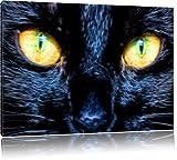 Schwarze Katze mit orangenen Augen, USA 100x70cm Bild auf Leinwand, XXL riesige Bilder fertig gerahmt mit Keilrahmen. Kunstdruck auf Wandbild mit Rahmen. Günstiger als Gemälde oder Ölbild, kein Poster oder Plakat
