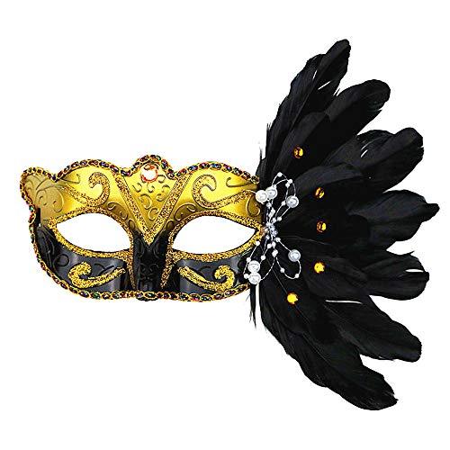 OYJJ Halloween-Make-up-Ball, flauschig, bemalte Maske, Zeichnung, Make-up, Tanzkostüm, Requisiten, Urlaubskleid (weiß) schwarz