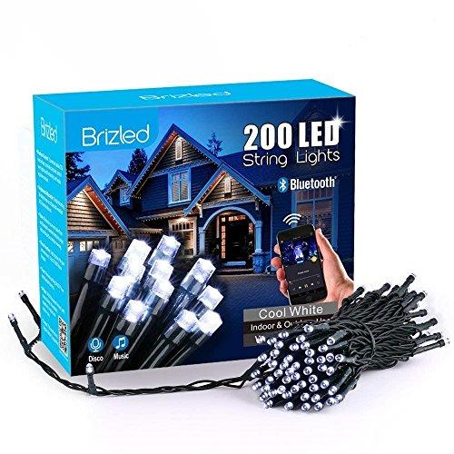 Brizled LED Lichterkette Bluetooth, 20m, 200LED, mit Adapter, 16 Funktionen, Durch Musik Kontrollierbar, Timer, Über IOS/Android HandyApp Steuerbar, Weihnachtsdeko (Weiß) Durch Adapter