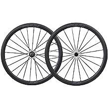 ICAN 700C Carbono Carretera Bicicleta Rueda 40mm Clincher Tubeless listo con Buje de Cerámica del Cojinete