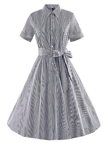 Vintage Rockabilly gestreiften Kleid Hepburn Stil Partykleid Cocktailkleid 60er Jahr Abendkleid
