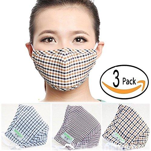 Lot de 3 masques BXT anti-poussière en coton chaud et charbon actif avec gaufrage petits carreaux en 3D - unisexe