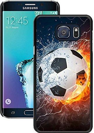 SHUAIJA Flaming Soccer Feuer und Wasser schwarz für Samsung Galaxy S6Edge Plus Handy Fall (Wasser Lg G3 Fall)