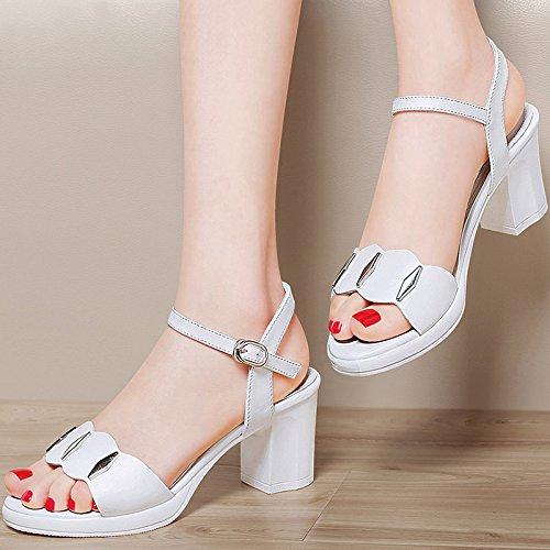 LGK&FA Estate Donna Sandali High-Heeled sandali scarpe con Fitti estivi con un scarpe All-Match 40 Beige 40 white