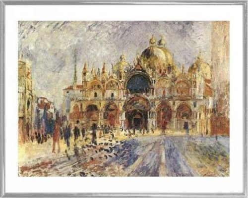 Pierre Auguste Renoir Poster Kunstdruck und Kunststoff-Rahmen - Venedig - Piazza San Marco (50 x 40cm)