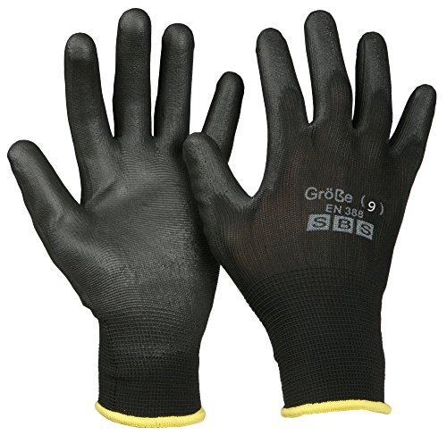 12 Paar SBS Arbeitshandschuhe schwarz Gr. 9 L Montagehandschuhe, Nylonhandschuhe