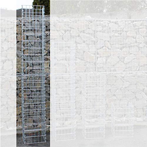 IHD Gabionensäulen eckig Gabionen Säule Steingabionen Steinkorb 4 mm Drahtstärke, Maschenweite 5 x 10 cm; Größe 30 x 30 cm 2,00 m