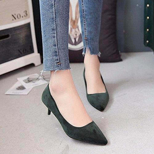 DIMAOL Scarpe Donna Pelle Nubuck Caduta Molla Comfort Tacchi Stiletto Heel per Casual Esercito Rosa Nero Verde Army Green