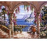 XXIAOHH 5DDIY Puzzle Creativo Pezzi da Giardino Giardino Suite Mediterranea Paesaggio Classico Giocattolo in Legno Decorazione della casa Regalo unico500 pezzi53x38cm