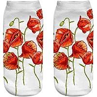 OHlive Suave Mujeres Poppy Flower 3D Impreso Zapatillas de Deporte Calcetines Tobillo Calcetines (1 par-YSH09-One Size) (Color : YSH09, tamaño : Talla única)