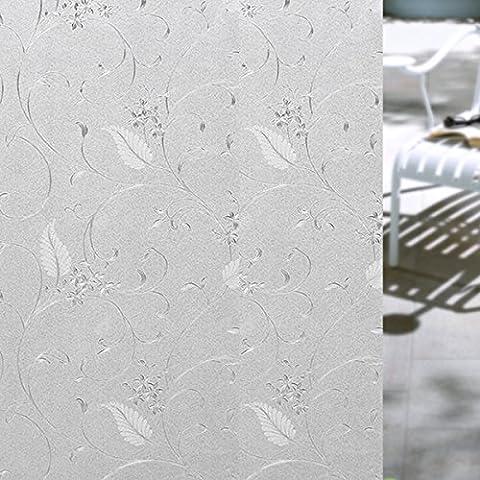 Opaque Dépoli Film pour Fenêtre, Coolzon® Amovible Adhésif Autocollant Electrostatique de Vitre Décoratifs Papier Modèle de Fleurs 17.7