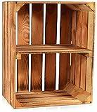 CHICCIE Geflammte Obstkisten - Verschiedene Größen Holzkisten Weinkisten Holz Kisten Apfelkisten Obstkiste Gebrannt (50 x 40 x 30cm mit kurzer Ablage, 1)