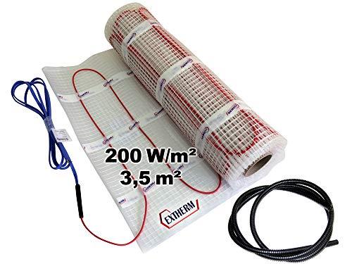 EXTHERM TWIN Heizkabel-Matte Für Elektrische Fußboden-Heizung 3,5m² -- Installation - 200W/m2 -- Komfortable Wärme In All Ihren Räumen - Erneuerbare Energielösung 3,5m²
