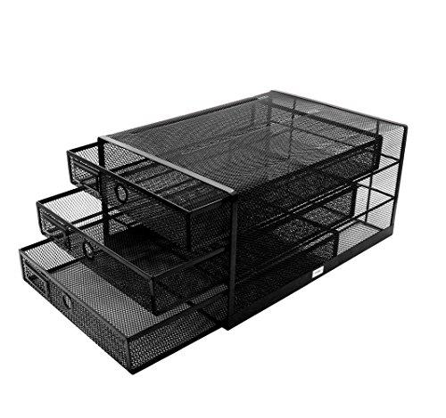 Exerz EX3205 Trieur de Papier à Trois tiroirs/Organiseur Multifonctionnel de Bureau - Noir