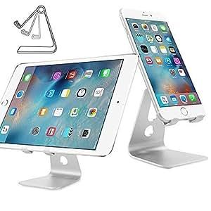 iClever IC-CS01 Supporto Desktop in Alluminio per Telefoni Cellulari, Tablet, E-reader e più, Angolo di Visuale Regolabile, Colore Argento